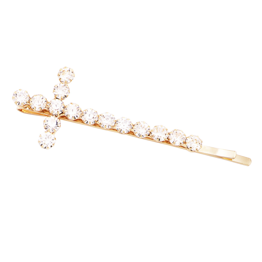 Classic Large Statement Crystal Cross Hair Clip Barrette Bobby Pin Hair Accessory, 3.5""