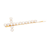 Classic Large Statement Crystal Cross Hair Clip Barrette Bobby Pin Hair Accessory, 3.5