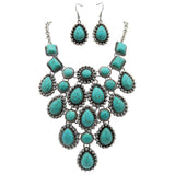 Turquoise Bib Necklace Drop Earrings Jewelry Set