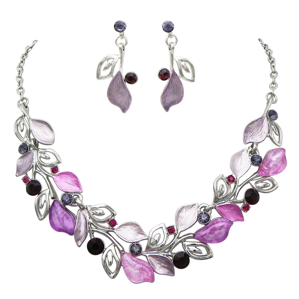 Purple Floral Leaf and Vine European Design Statement Necklace Earrings Jewelry Set