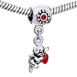 Red Dangle Cupid  Style Bead Charm Fits All Brand Charm Bracelets
