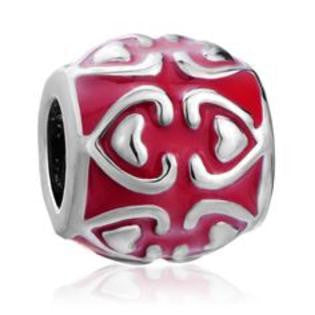 Red Heart European Style Bead Fits All Brands of Charm Bracelets