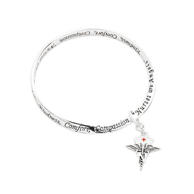 Nurses Are Angles Twist Bangle Charm Bracelet