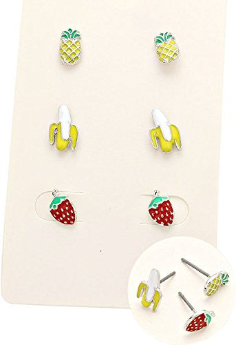 "Fun Stud Earrings Set of 3 ""Banana Pineapple Strawberry"""