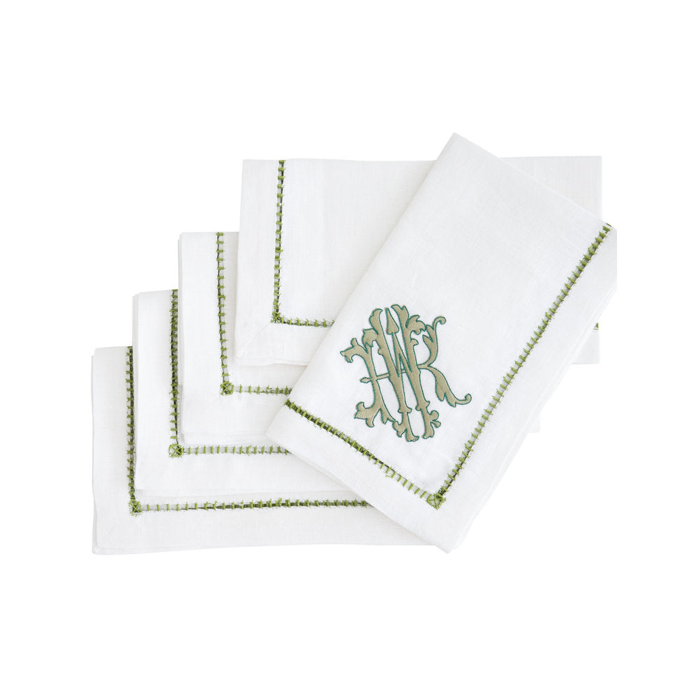 Foxglove Monogrammed Ladder Stitch Dinner Napkin