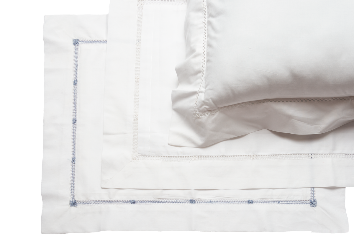 Flower Hemstitch Sheet Set ~ White ~ King Size