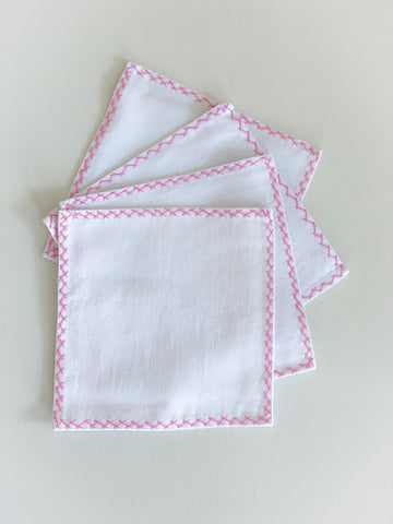 Pink Cross Stitch Cocktail Napkins set of 4