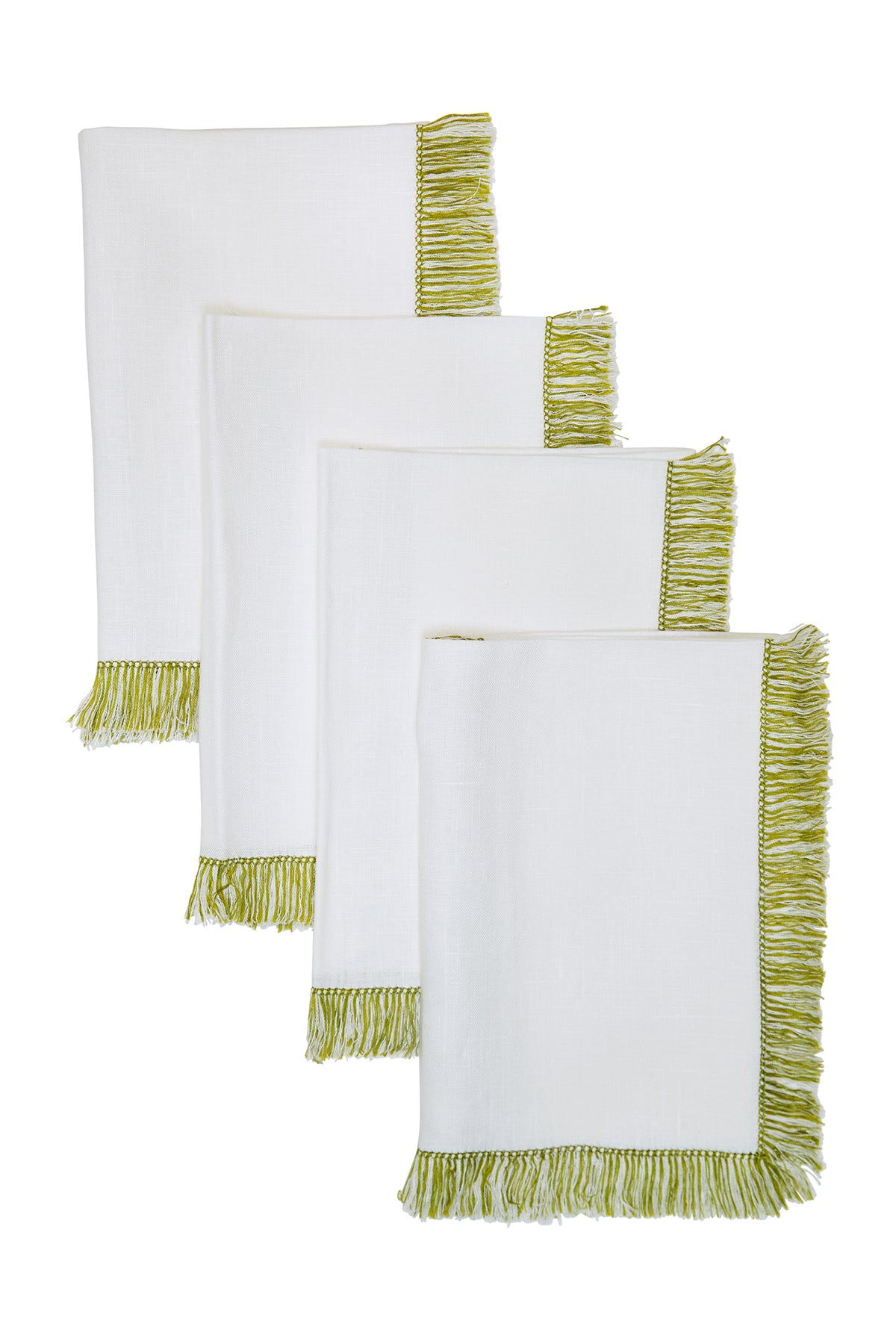 Olive Hand-Knotted Fringe Dinner Napkin ~ as seen in 'Garden & Gun'