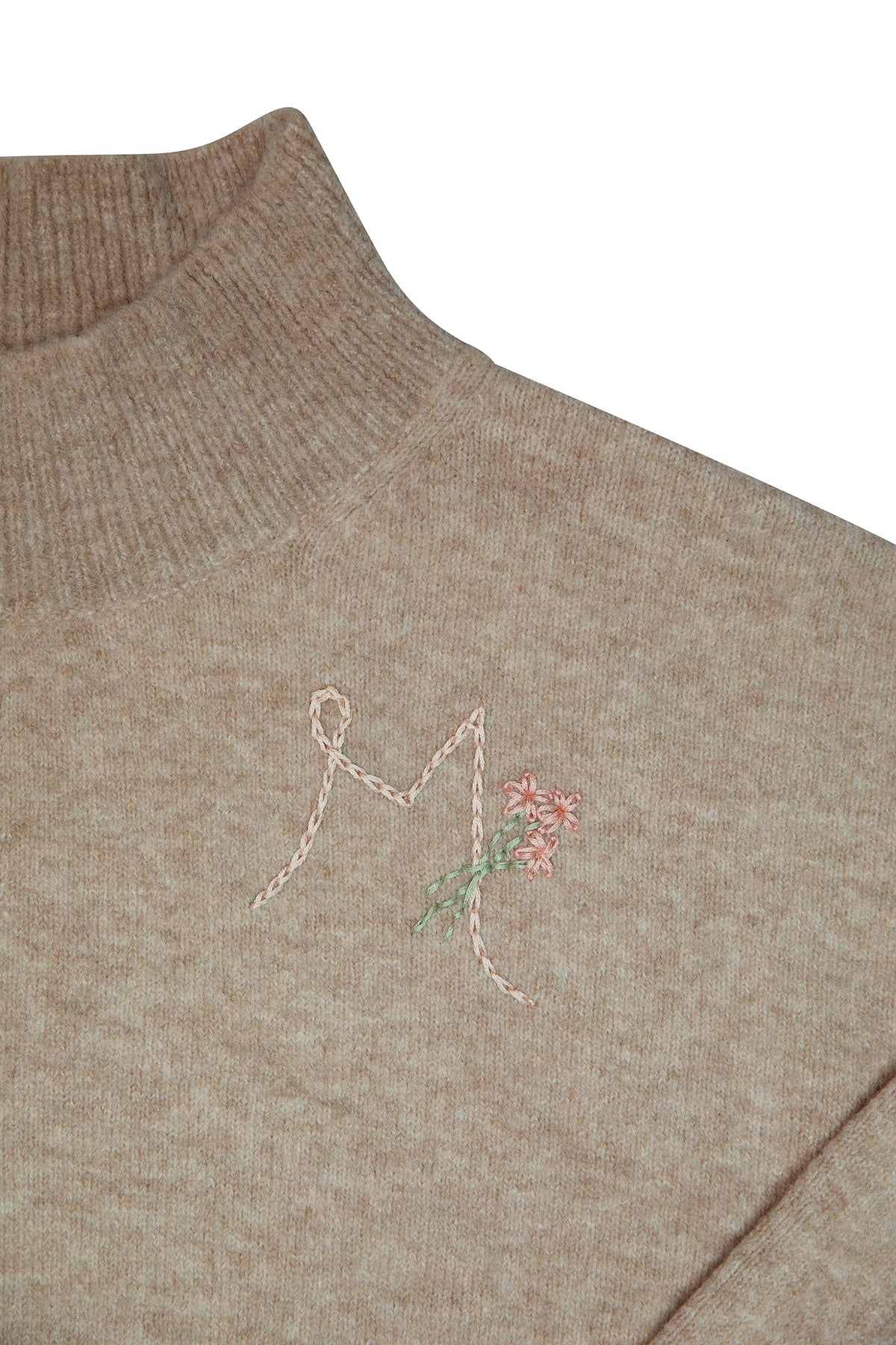 Camel bouquet monogrammed sweater