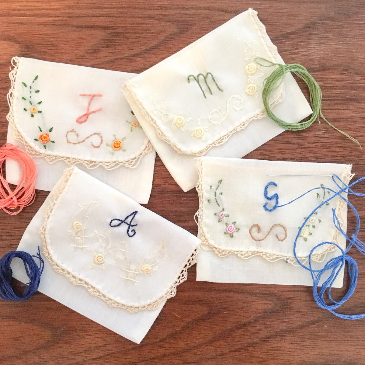 Hand Embroidered Jewelry Pouches ~ Set of 3