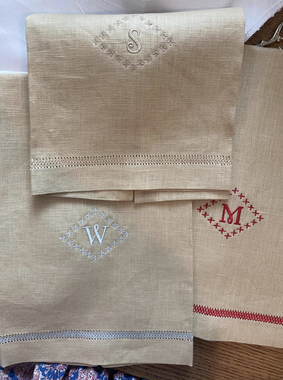 Natural Guest Towel with  Monogram