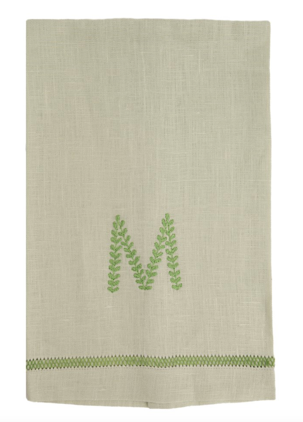 Mint Guest Towel with Ivy Monogram