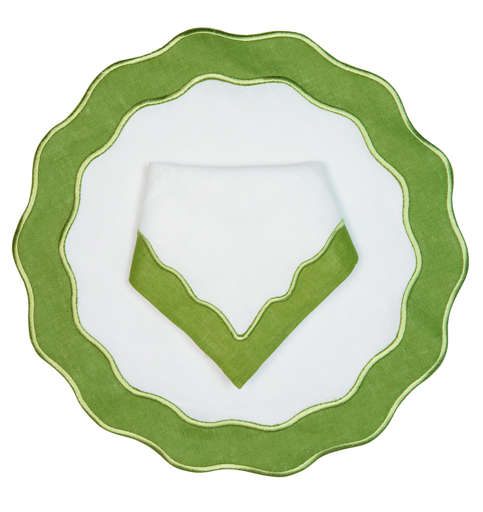 Tone on tone fern applique place setting