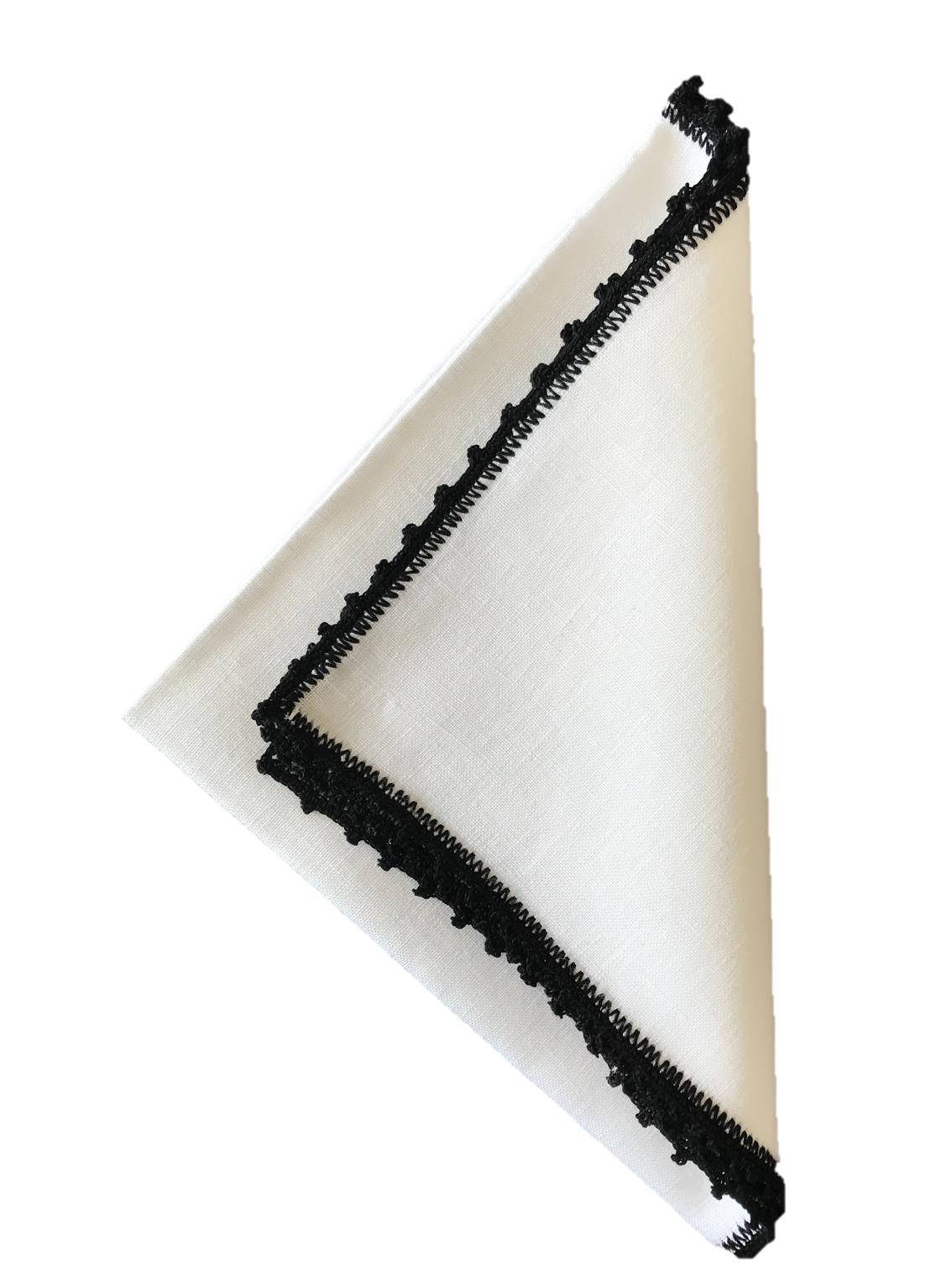Bella Crochet Edge Dinner Napkins: Black
