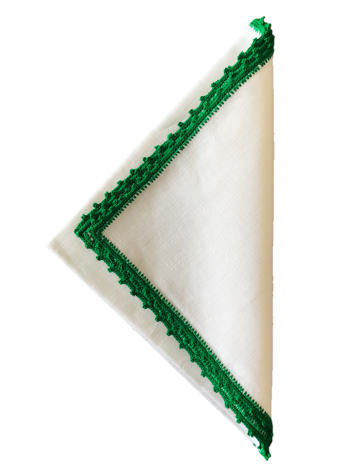 Bella Crochet Edge Dinner Napkins: Kelly Green