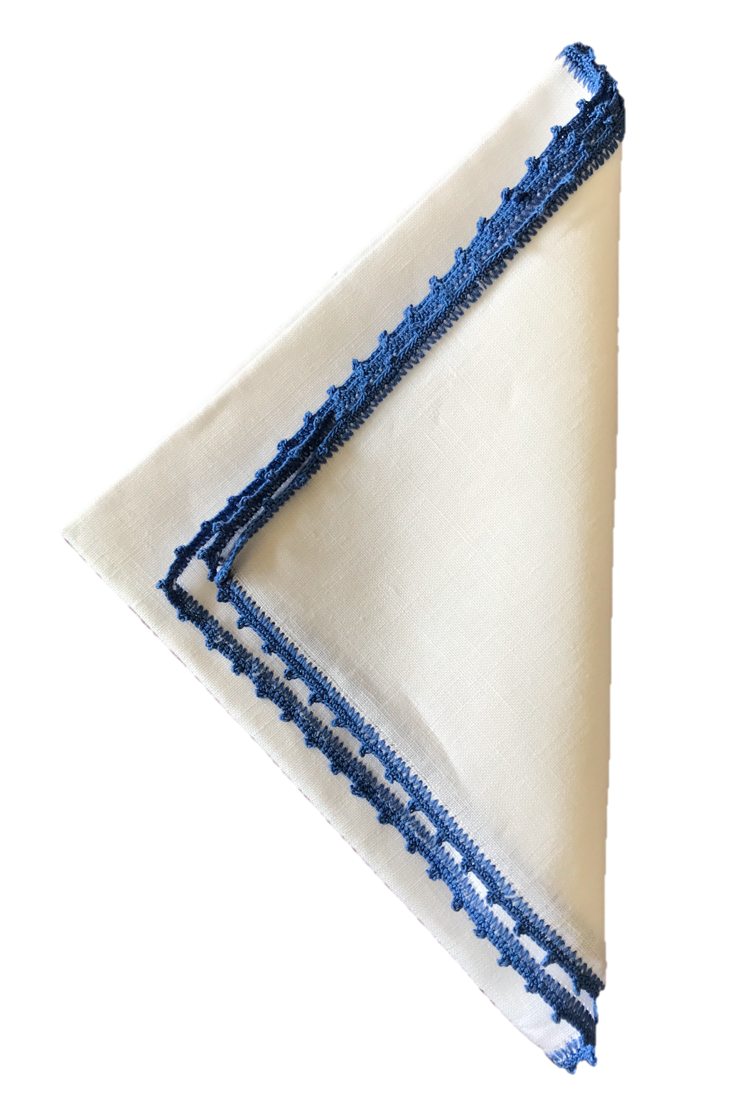 Bella Crochet Edge Dinner Napkins: Cobalt Blue