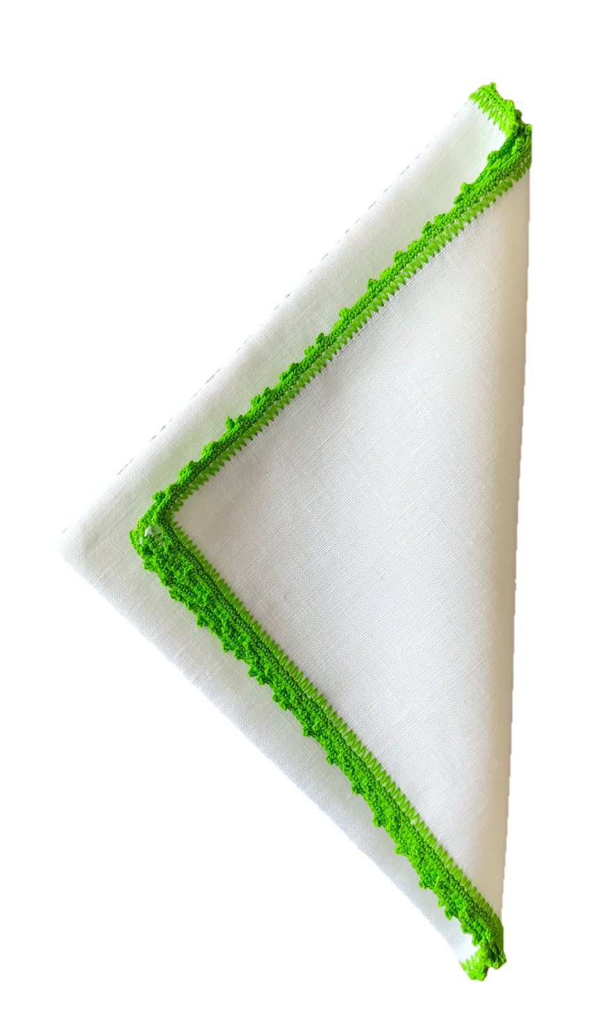 Bella Crochet Edge Dinner Napkins: Lime