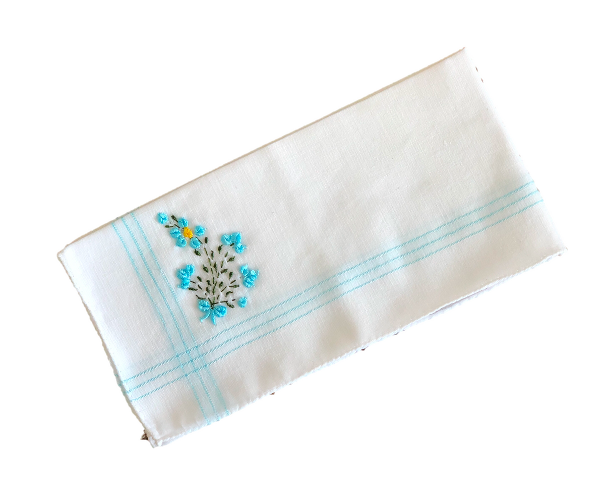 Colorful Handkerchief Collection: Light Blue with Flowers