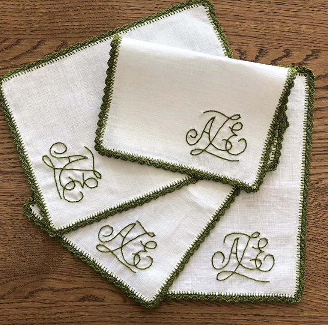 Aerin Hand Embroidered Fold Over Cocktail Napkins