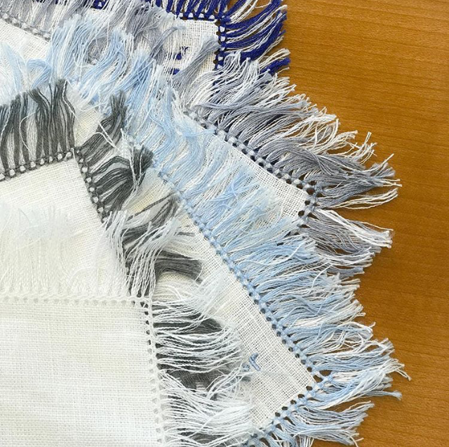 Hand-Knotted Fringe Square Cocktail Napkin