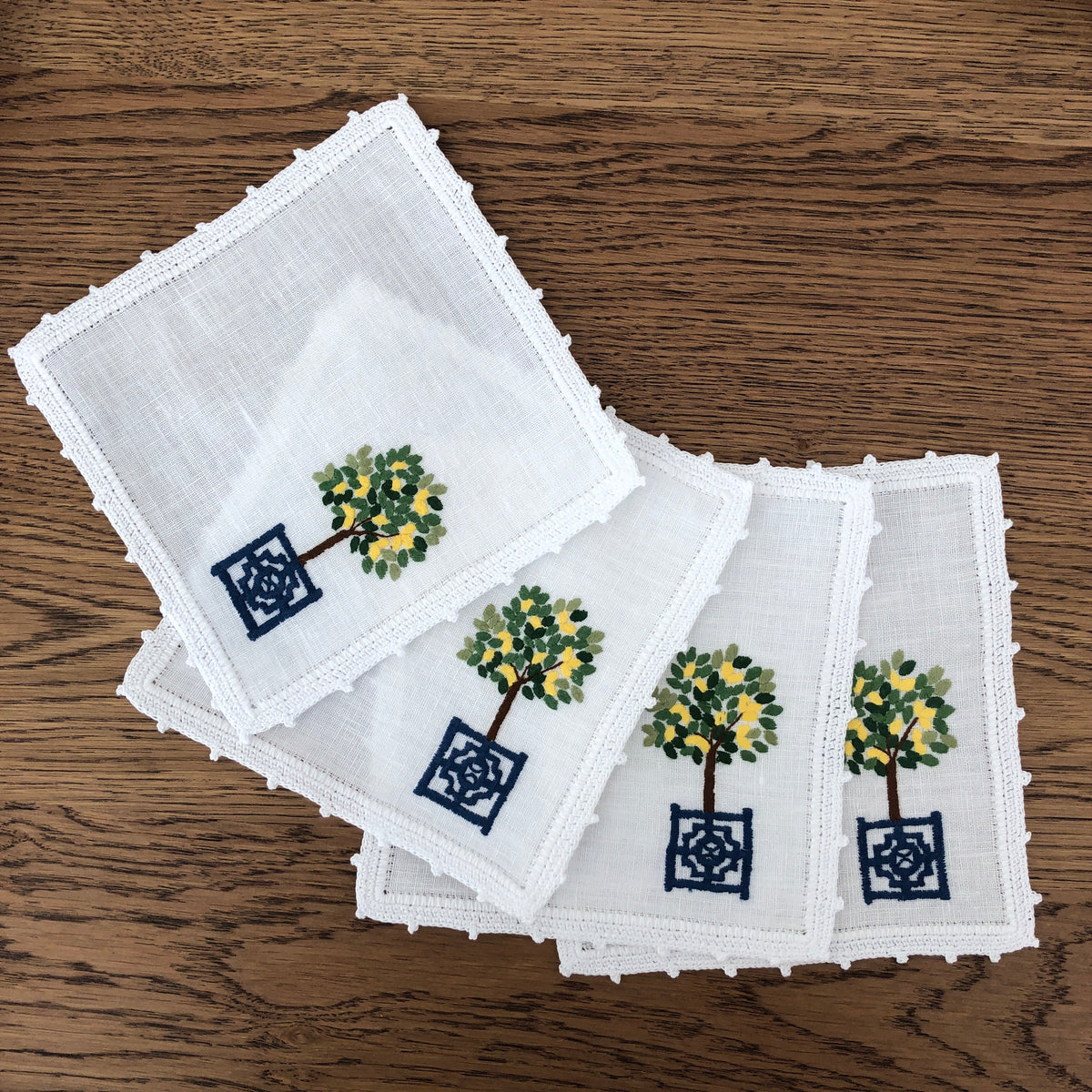 Lemon Topiary Cocktail Napkins ~ Set of 4