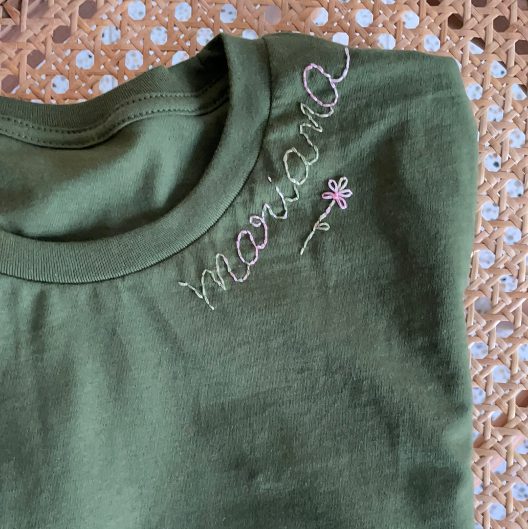 Olive Blooming Monogram Cotton T-Shirt Short Sleeve