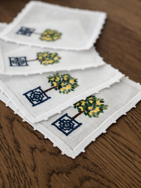 Topiary Cocktail Napkins with Lemons Set of 4