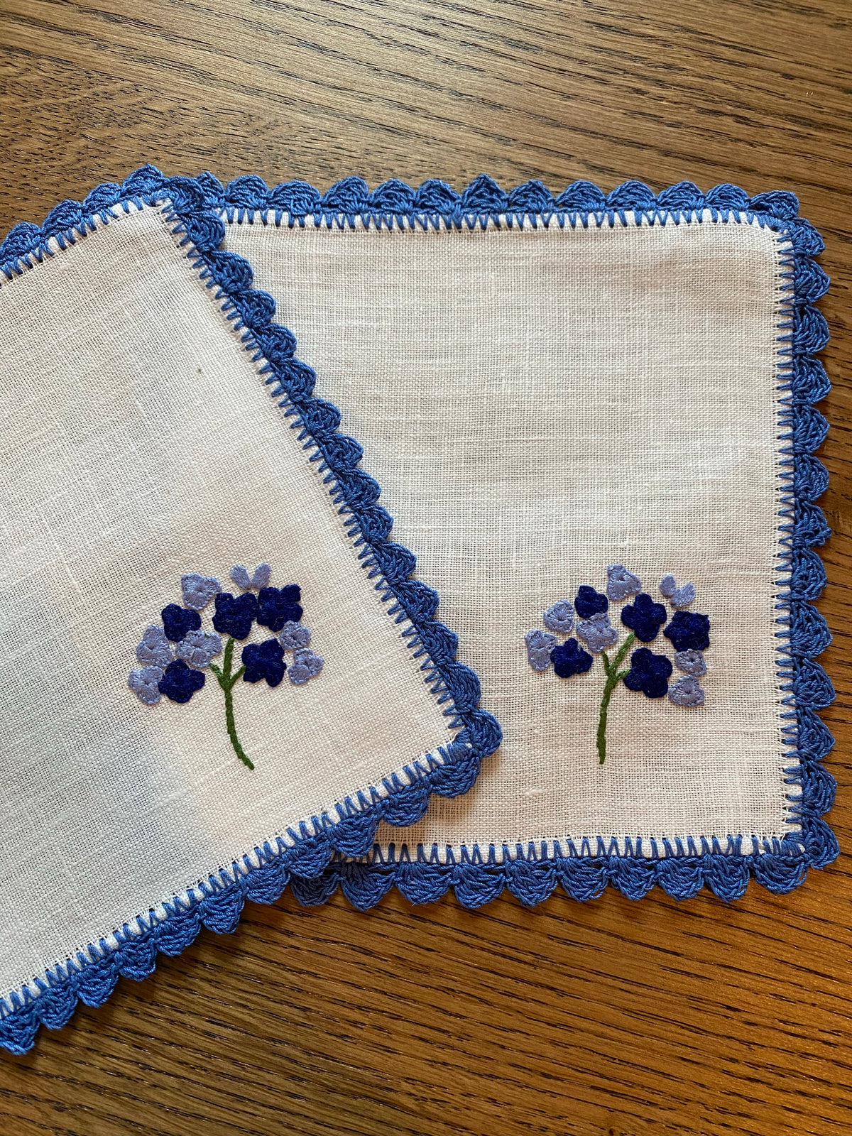Picnic Collection: Hand-Embroidered Hydrangea Cocktail Napkin