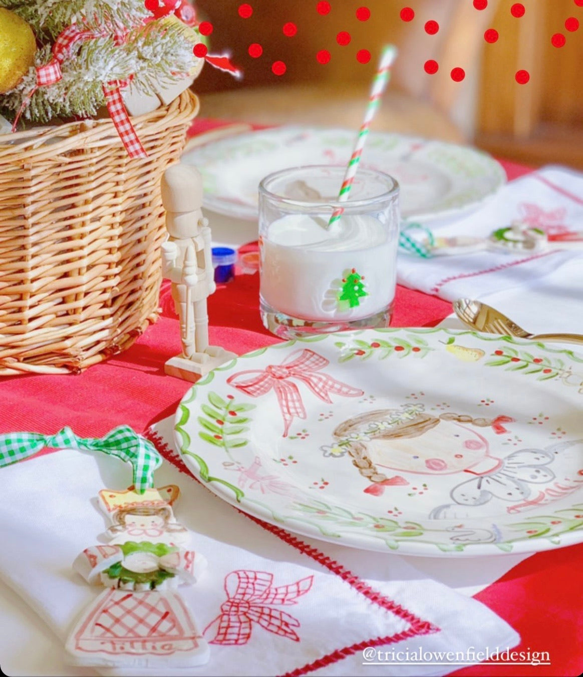 Gingham Bow Ladder Stitch Dinner Napkin (Website exclusive)