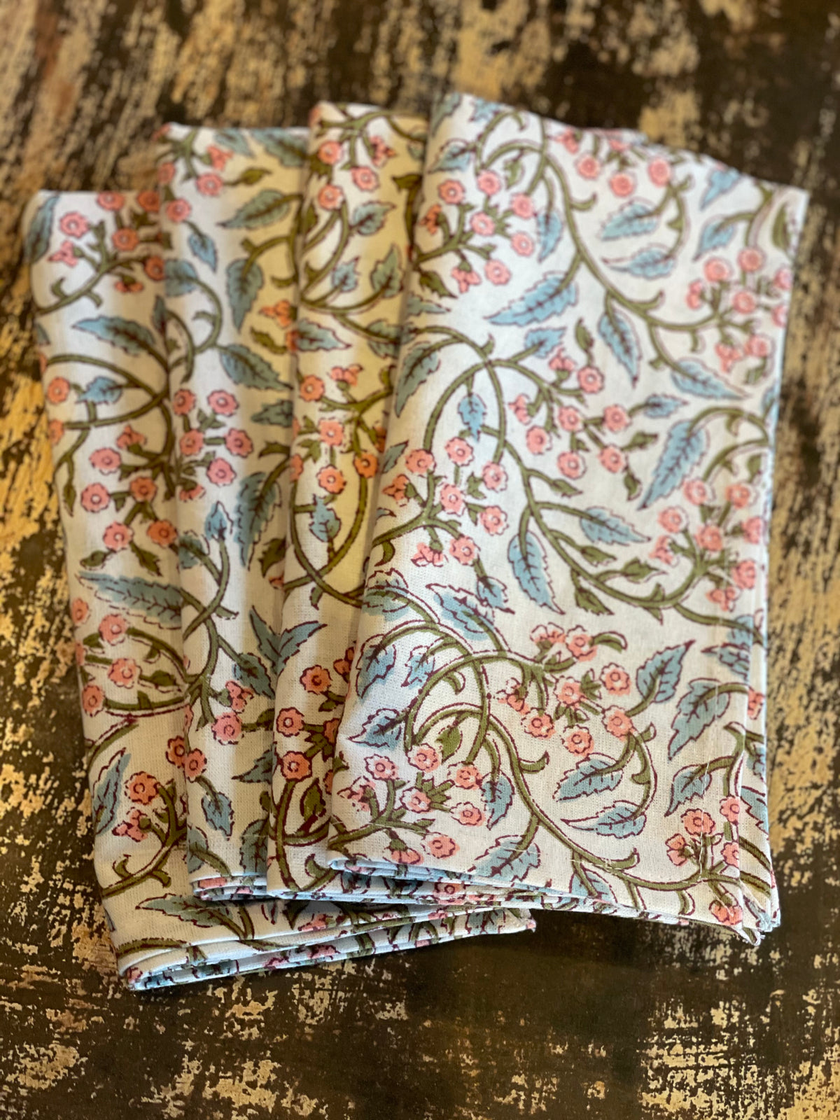 Block print  Blush Ivy Napkins