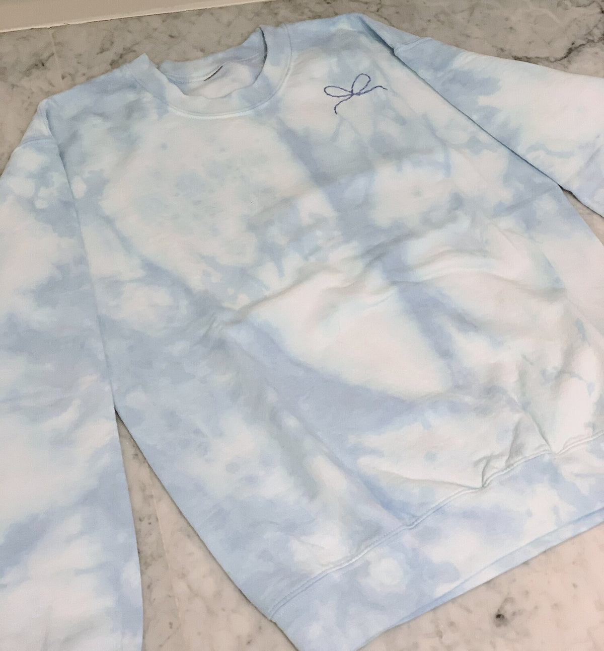 TIE-DYE BLUE ADULT SWEATSHIRT, Hand Embroidered Bow