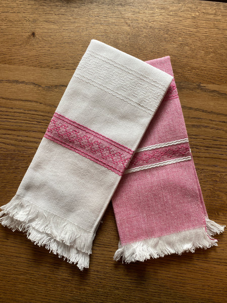 All Cotton Hand Woven Towels ~ Pink