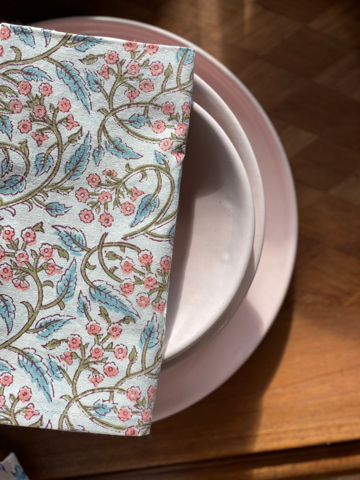 Block print  Blush Ivy Napkins or tablecloth