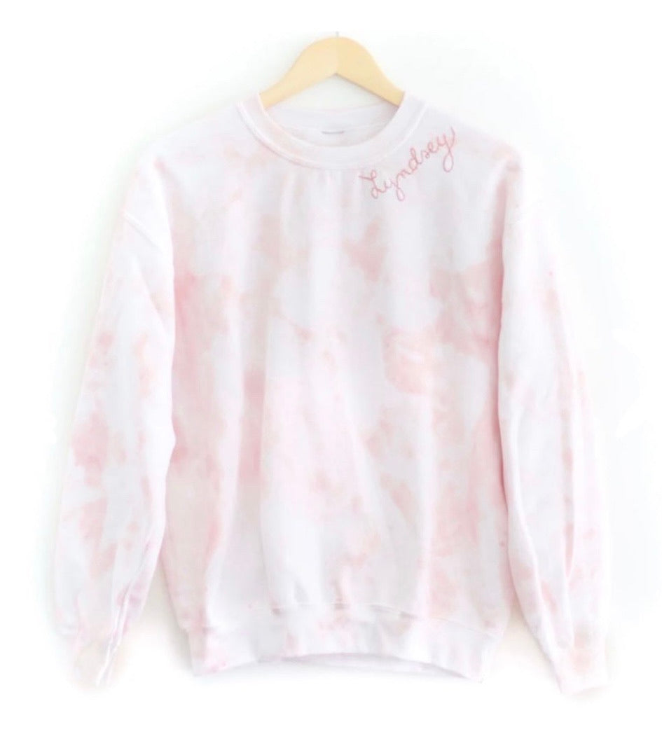 TIE-DYE ADULT SWEATSHIRT, BLUSH a collaboration with The Avenue