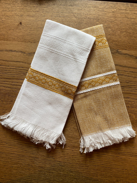 All Cotton Hand Woven Towels ~ Gold