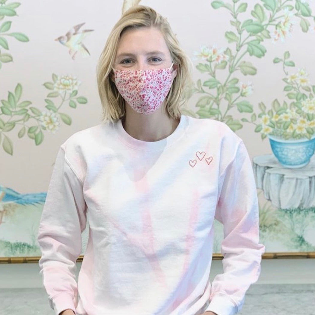 TIE-DYE PINK ADULT SWEATSHIRT, Hand Embroidered Hearts