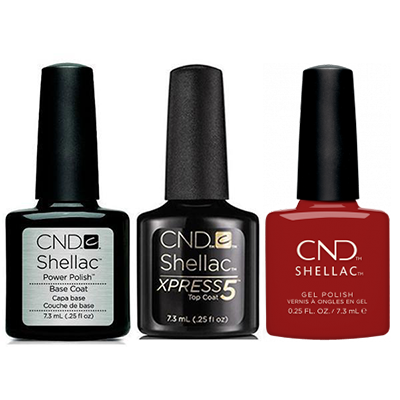 CND - Shellac Xpress5 Combo - Base, Top & Bordeaux Babe (0.25 oz)