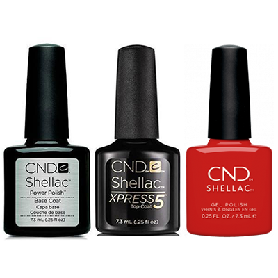 CND - Shellac Xpress5 Combo - Base, Top & Devil Red (0.25 oz)