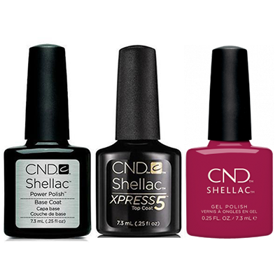 CND - Shellac Xpress5 Combo - Base, Top & How Merlot (0.25 oz)
