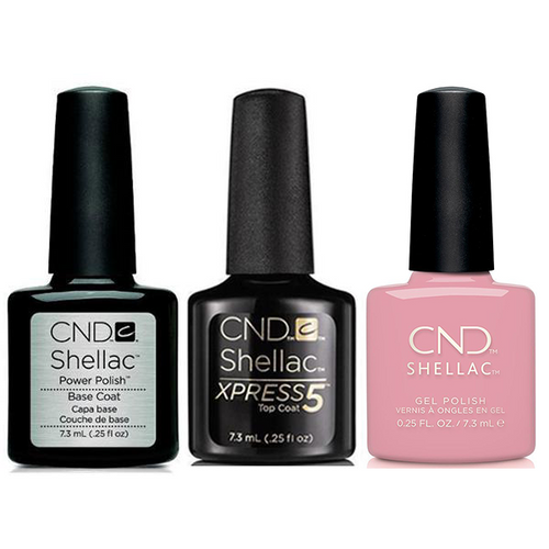 CND - Shellac Xpress5 Combo - Base, Top & Pacific Rose (0.25 oz)