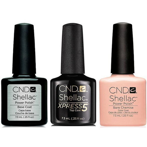 CND - Shellac Xpress5 Combo - Base, Top & Bare Chemise (0.25 oz)