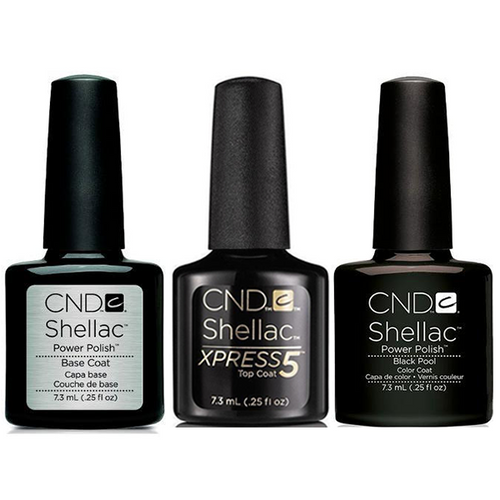 CND - Shellac Xpress5 Combo - Base, Top & Black Pool (0.25 oz)