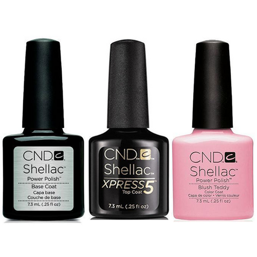 CND - Shellac Xpress5 Combo - Base, Top & Blush Teddy (0.25 oz)