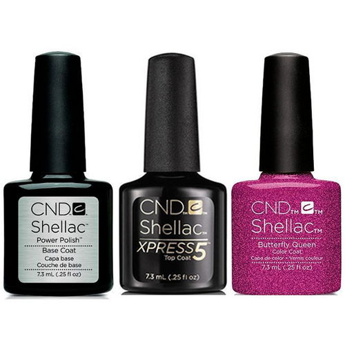 CND - Shellac Xpress5 Combo - Base, Top & Butterfly Queen (0.25 oz)