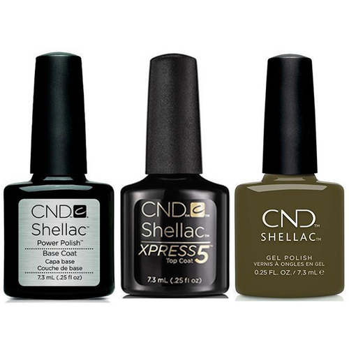 CND - Shellac Xpress5 Combo - Base, Top & Cap & Gown (0.25 oz)