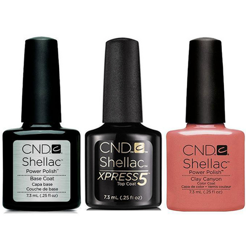 CND - Shellac Xpress5 Combo - Base, Top & Clay Canyon (0.25 OZ)