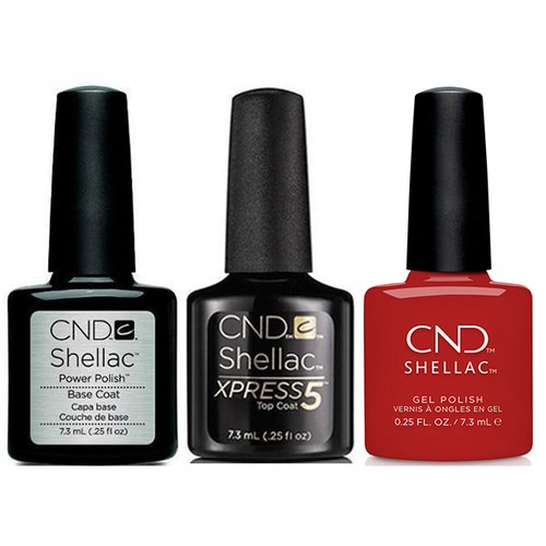 CND - Shellac Xpress5 Combo - Base, Top & Company Red (0.25 oz)