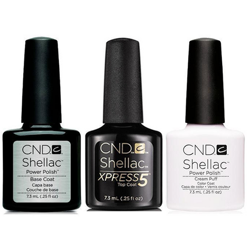 CND - Shellac Xpress5 Combo - Base, Top & Cream Puff (0.25 oz)
