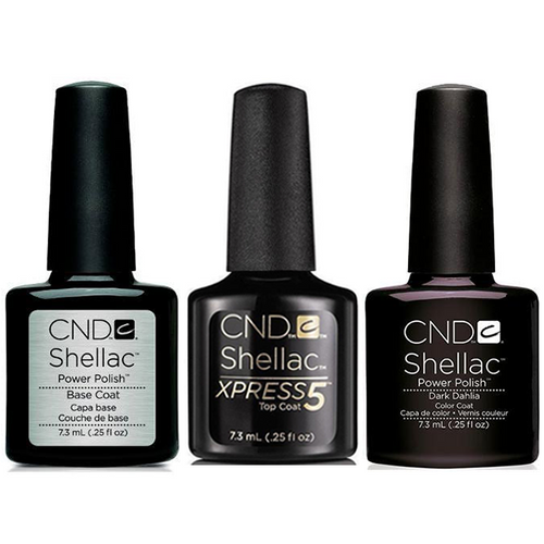 CND - Shellac Xpress5 Combo - Base, Top & Dark Dahlia (0.25 oz)