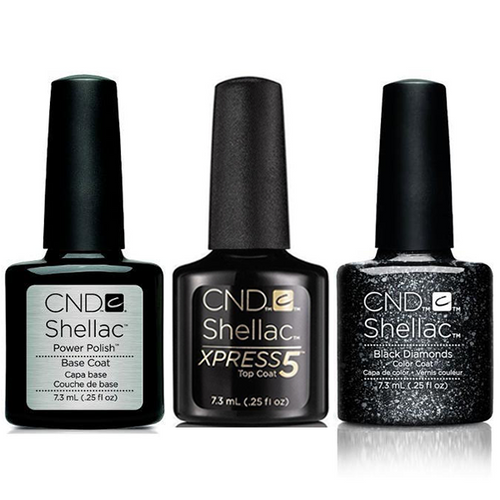 CND - Shellac Xpress5 Combo - Base, Top & Dark Diamond (0.25 oz)